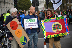 © Licensed to London News Pictures. 07/10/2019. London, UK. Extinction Rebellion protestors gather near Downing Street in Westminster. Activists will converge on Westminster blockading roads in the area for at least two weeks calling on government departments to 'Tell the Truth' about what they are doing to tackle the Emergency. Photo credit: Ben Cawthra/LNP