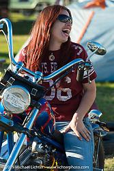 Cheyenne Smith of Delonaga, GA at the AMCA swap meet in New Smyrina, FL during Daytona Bike Week, FL., USA. March 8, 2014.  Photography ©2014 Michael Lichter.