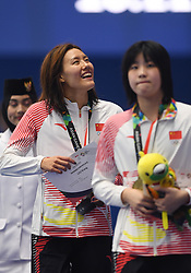 JAKARTA, Aug. 24, 2018  Silver medalist Liu Xiang (L) of China attends the awarding ceremony after women's 50m freestyle final of swimming at the 18th Asian Games in Jakarta, Indonesia, Aug. 24, 2018. (Credit Image: © Pan Yulong/Xinhua via ZUMA Wire)