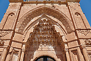 Main gate  of the 18th Century Ottoman architecture of the Ishak Pasha Palace (Turkish: İshak Paşa Sarayı) ,  Agrı province of eastern Turkey. .<br /> <br /> If you prefer to buy from our ALAMY PHOTO LIBRARY  Collection visit : https://www.alamy.com/portfolio/paul-williams-funkystock/ishak-pasha-palace-turkey.html<br /> <br /> Visit our TURKEY PHOTO COLLECTIONS for more photos to download or buy as wall art prints https://funkystock.photoshelter.com/gallery-collection/3f-Pictures-of-Turkey-Turkey-Photos-Images-Fotos/C0000U.hJWkZxAbg