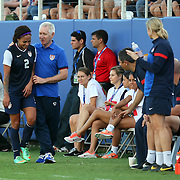 U.S. forward Sydney Leroux (2) is seen with head coach Tom Sermanni during an international friendly soccer match between the United States Women's National soccer team and the Russia National soccer team at FAU Stadium on Saturday, February 8, in Boca Raton, Florida. The U.S. won the match by a score of 7-0. (AP Photo/Alex Menendez)