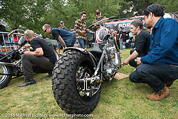 Neighborhood's Shinsuke Takizawa with invited Builder Paul Cox (Paul Cox Industries, Brooklyn, NY) and his BF6 custom with it's heavily modified Harley-Davidson Shovelhead engine on Day one of the Born Free Vintage Chopper and Classic Motorcycle Show at the Oak Canyon Ranch in Silverado, CA. USA. Saturday, June 28, 2014.  Photography ©2014 Michael Lichter.