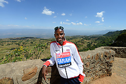 © Licensed to London News Pictures. File pic dated 31/01/2014. Iten, Kenya. Double world and Olympic champion MO FARAH in training for the 2014 London Marathon at an altitude training camp based at 2,500m in Iten, Kenya in January 2014. Farah will, this weekend, attempt to make the jump from the 10,000m distance to a full marathon for the first time, in front of a home crowd in London. Photo credit : Mike King/LNP