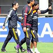 Galatasaray's coach Frank RIJKAARD (C) and Arda TURAN (R) during their training session at the Jupp Derwall training center, Tuesday, April 20, 2010. Photo by TURKPIX