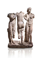 Roman statue of The Three Graces. Marble. Perge. 2nd century AD. Inv no 17.29.81. Antalya Archaeology Museum; Turkey. Against a white background.<br /> <br /> The Three Graces iRoamn statue is of the mythological three charites, daughters of Zeus,  Euphrosyne, Aglaea and Thalia , who were said to represent youth/beauty (Thalia), mirth (Euphrosyne), and elegance (Aglaea). .<br /> <br /> If you prefer to buy from our ALAMY STOCK LIBRARY page at https://www.alamy.com/portfolio/paul-williams-funkystock/greco-roman-sculptures.html . Type -    Antalya     - into LOWER SEARCH WITHIN GALLERY box - Refine search by adding a subject, place, background colour, museum etc.<br /> <br /> Visit our ROMAN WORLD PHOTO COLLECTIONS for more photos to download or buy as wall art prints https://funkystock.photoshelter.com/gallery-collection/The-Romans-Art-Artefacts-Antiquities-Historic-Sites-Pictures-Images/C0000r2uLJJo9_s0