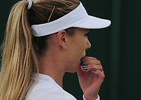 Tennis - 2017 Wimbledon Championships - Week One, Tuesday [Day Two]<br /> <br /> Women's Singles, First Round match<br /> <br /> Katie Boulter (GBR) vs Christina McHale (USA) <br /> <br /> Katie Boulter with paint nails  on court 12<br /> <br /> COLORSPORT/ANDREW COWIE
