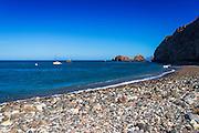 Rocky beach at Scorpion Cove, Santa Cruz Island, Channel Islands National Park, California USA