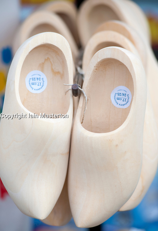 Traditional wooden clogs for sale in tourist shop in Delft, The Netherlands