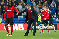 Football - 2013 / 2014 Premier League - Cardiff City vs. Hull City<br /> <br />  Cardiff manager Ole Gunnar Solskjaer, Mats Moller Daehli of Cardiff in background, with Kenwynne Jones of Cardiff after the final whistle & Cardiff lose 4-0, at Cardiff City Stadium.<br /> <br /> COLORSPORT/WINSTON BYNORTH