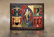 12th century Romanesque painted altar front from Saint Quirc de Durro, Val de Boi, Alta Ribagorca, Spain, showing The Madonna and Child and scenes depicting the martyrdom of saints.  National Art Museum of Catalonia, Barcelona 1919-23. Ref: MNAC 15809. .<br /> <br /> If you prefer you can also buy from our ALAMY PHOTO LIBRARY  Collection visit : https://www.alamy.com/portfolio/paul-williams-funkystock/romanesque-art-antiquities.html<br /> Type -     MNAC     - into the LOWER SEARCH WITHIN GALLERY box. Refine search by adding background colour, place, subject etc<br /> <br /> Visit our ROMANESQUE ART PHOTO COLLECTION for more   photos  to download or buy as prints https://funkystock.photoshelter.com/gallery-collection/Medieval-Romanesque-Art-Antiquities-Historic-Sites-Pictures-Images-of/C0000uYGQT94tY_Y