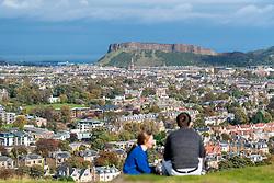 View of Salisbury Crags overlooking Edinburgh, Scotland, United Kingdom