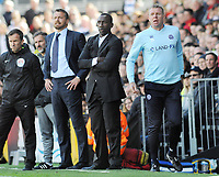 Football - 2016 /2017 Championship - Fulham vs Queens Park Rangers<br /> <br /> QPR assistant Manager David Oldfield,with Manager Jimmy Floyd Hasselbaink and QPR Manager Slavisa Jokanovic (left) at Craven Cottage<br /> <br /> Credit : Colorsport / Andrew Cowie