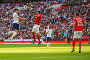Harry Maguire of England beats Georgi Sarmov of Bulgaria to a header during the UEFA European 2020 Qualifier match between England and Bulgaria at Wembley Stadium, London, England on 7 September 2019.