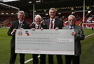Poppy appeal cheque presentation during the English League One match at Bramall Lane Stadium, Sheffield. Picture date: December 31st, 2016. Pic Simon Bellis/Sportimage