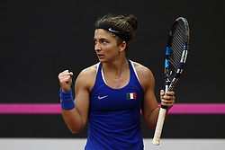 February 11, 2018 - Chieti, CH, Italy - Sara Errani of Italy team during celebrate the victory of the 2018 Fed Cup BNP Paribas World Group II First Round match between Italy and Spain at Pala Tricalle ''Sandro Leombroni'' on February 11, 2018 in Chieti, Italy. (Credit Image: © Danilo Di Giovanni/NurPhoto via ZUMA Press)