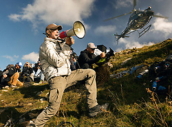 Left to right: Director/Executive Producer Michael Bay and Director of Photography Jonathan Sela on the set of TRANSFORMERS: THE LAST KNIGHT, from Paramount Pictures.