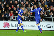 Oscar of Chelsea celebrates with Cesc Fabregas after he scores his teams 4th goal. Barclays Premier League match, Swansea city v Chelsea at the Liberty Stadium in Swansea, South Wales on Saturday 17th Jan 2015.<br /> pic by Andrew Orchard, Andrew Orchard sports photography.