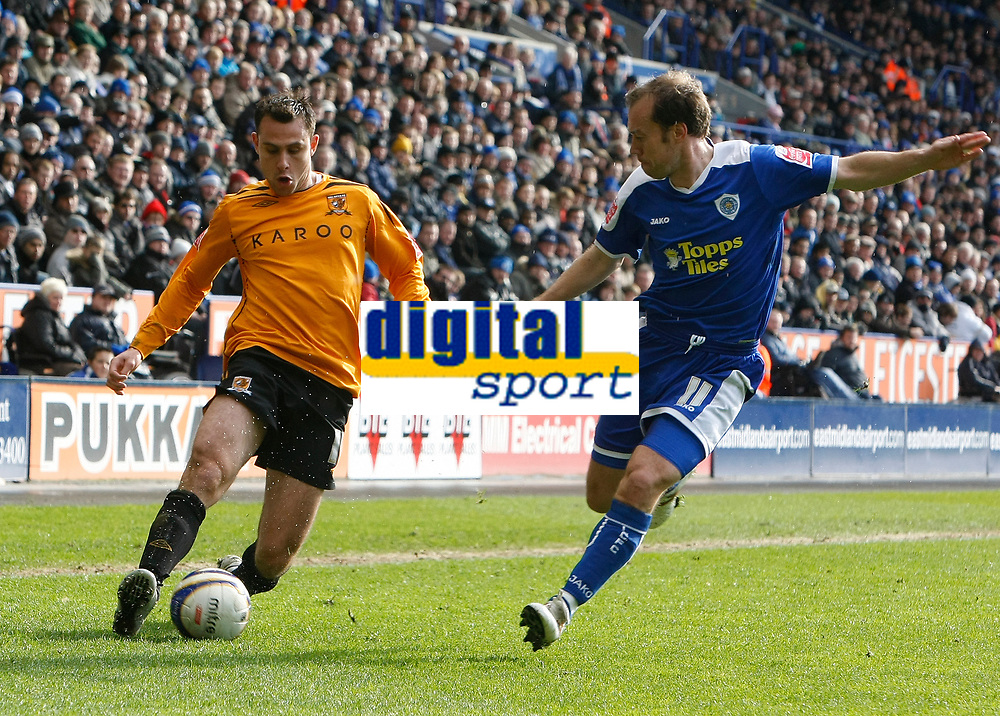 Photo: Steve Bond/Richard Lane Photography. <br />Leicester City v Hull City. Coca Cola Championship. 21/03/2008. Richard Garcia (L) gets a cross in as  Jamie Clapham (R) closes in