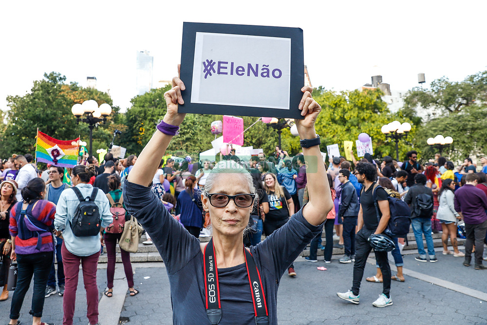 September 29, 2018 - New York, NEW YORK, UNITED STATES - Brazilian actress Sonia Braga is seen during protest #ELENAO against Brazil's presidential candidate Jair Bolsonaro in New York City on Saturday, 29. (Credit Image: © William Volcov/ZUMA Wire)