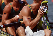 Atlanta, USA,  AUS M4- Oarsome's waiting to start heat showing Australian flag tattoos'.  Bow GREEN, Nicholas, GINN, Drew, TOMKINS, James and MCKAY, Mike, at the 1996, Olympic Rowing Regatta at Lake Lanier, Gainsville Georgia,  [Photo Peter Spurrier/Intersport Images]