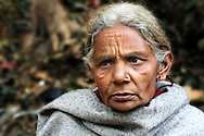 Nepal, Dakshinkali. Portrait on a woman- one of the pilgrims in Dakshinkali.