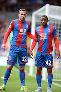 Jordon Mutch of Crystal Palace (l) and Jason Puncheon of Crystal Palace (r)  look on as Arsenal prepare for a corner. Barclays Premier league match, Crystal Palace v Arsenal at  Selhurst Park in London on Sunday 16th August 2015.<br /> pic by John Patrick Fletcher, Andrew Orchard sports photography.