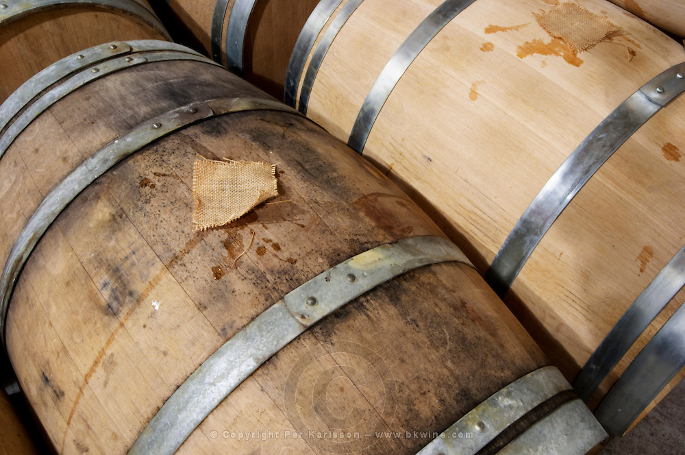 Oak barrique barrels with fermenting white wine, bung hole covered with jute, detail from above Chateau Belingard Bergerac Dordogne France