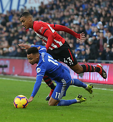 Cardiff City's Josh Murphy is fouled by Southampton's Yan Valery during the Premier League match at the Cardiff City Stadium, Cardiff.