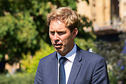 Tobias Ellwood MP and Defence Minister on College Green following the announcment that Boris Johnson is the new Conservative leader and Prime Minister, on 23rd July, 2019 in London, United Kingdom.