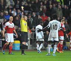 Swansea City's Wilfried Bony gets booked. - Photo mandatory by-line: Alex James/JMP - Tel: Mobile: 07966 386802 28/01/2014 - SPORT - FOOTBALL - Liberty Stadium - Swansea - Swansea City v Fulham - Barclays Premier League