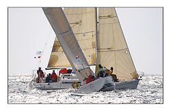 Yachting- The first days inshore racing  of the Bell Lawrie Scottish series 2002 at Tarbert Loch Fyne. Near perfect conditions saw over two hundred yachts compete. <br />Elanor Elan 333 3331C overall winner crosses ahead of Roxanne GBR7015T an X 332 in Class 3<br />Pics Marc Turner / PFM