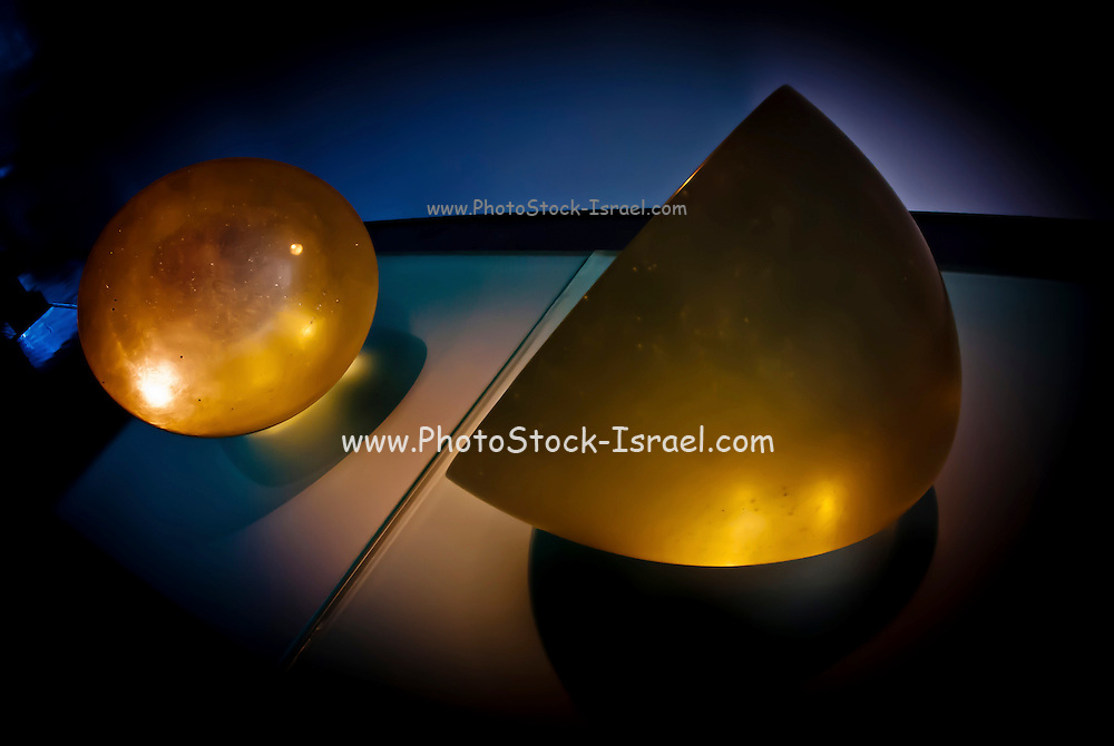 Abstract 3d shapes yellow sphere and half sphere
