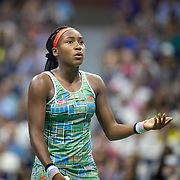 2019 US Open Tennis Tournament- Day Six.  Coco Gauff of the United States reacts during her match against Naomi Osaka of Japan  in the Women's Singles Round three match on Arthur Ashe Stadium during the 2019 US Open Tennis Tournament at the USTA Billie Jean King National Tennis Center on August 31st, 2019 in Flushing, Queens, New York City.  (Photo by Tim Clayton/Corbis via Getty Images)