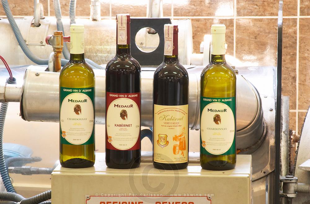 Bottles of Medaur Chardonnay, Cabernet Sauvignon (Kabernet) ion the winery. Kantina Miqesia or Medaur winery, Koplik. Albania, Balkan, Europe.