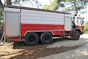 Israel, Carmel Mountain, Shekef Forest, Israeli fire truck