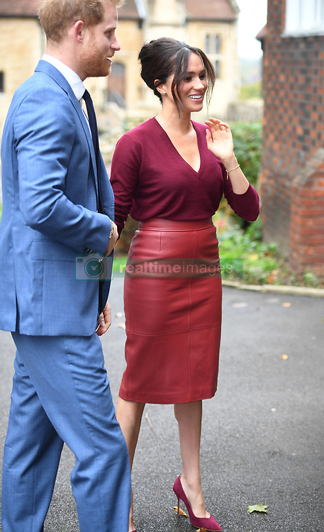 Meghan Markle, Duchess of Sussex, and Prince Harry, Duke of Sussex, attend a roundtable discussion on gender equality with The Queen's Commonwealth Trust (QCT) and One Young World at Windsor Castle, Windsor, Berkshire, UK, on the 25th October, 2019. Picture by Jeremy Selwyn/WPA-Pool. 25 Oct 2019 Pictured: Prince Harry, Duke of Sussex, Meghan Markle, Duchess of Sussex. Photo credit: MEGA TheMegaAgency.com +1 888 505 6342