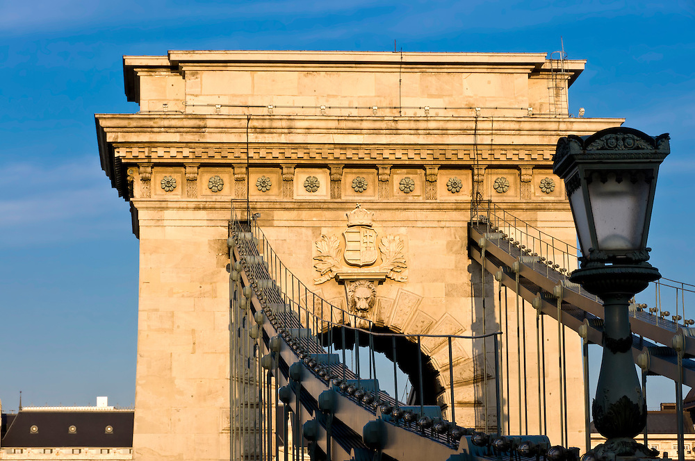 View of detail of the Chain Bridge in Budapest. This is a landmark in the city.