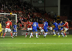 Bristol City's Matt Smith hit the crossbar with a header  - Photo mandatory by-line: Dougie Allward/JMP - Mobile: 07966 386802 - 29/01/2015 - SPORT - Football - Bristol - Ashton Gate - Bristol City v Gillingham - Johnstone Paint Trophy