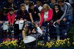 February 21, 2019 - Dubai, ARAB EMIRATES - Elina Svitolina of the Ukraine signs autographs after winning her quarter-final match at the 2019 Dubai Duty Free Tennis Championships WTA Premier 5 tennis tournament (Credit Image: © AFP7 via ZUMA Wire)