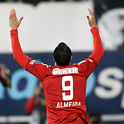 Besiktas's Hugo Almeida celebrates his goal during their Turkish Superleague soccer match Besiktas between Mersin idman Yurdu at BJK Inonu Stadium in Istanbul Turkey on Sunday, 04 November 2012. Photo by TURKPIX