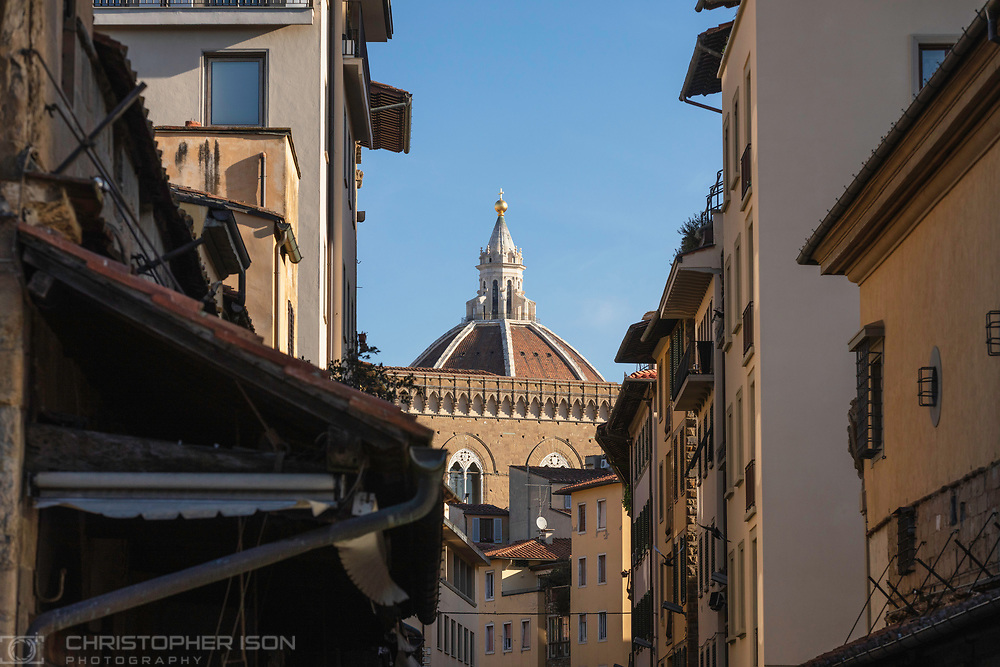 The top of the Duomo in Florence, Tuscany, Italy as seen from the Ponte Vecchio.<br /> Picture date: Wednesday July 2, 2014.<br /> Photograph by Christopher Ison ©<br /> 07544044177<br /> chris@christopherison.com<br /> www.christopherison.com