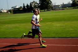 Roman Kejzar and his young protégé blind athlete Robi Kogovsek at practice session, on October 1st, 2020 in ZAK, Ljubljana, Slovenia. Photo by Vid Ponikvar / Sportida