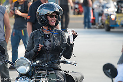 Sharon Jacobs on her 1936 Harley-Davidson VLH at the finish after Stage 14 - (284 miles) of the Motorcycle Cannonball Cross-Country Endurance Run, which on this day ran from Meridian to Lewiston, Idaho, USA. Friday, September 19, 2014.  Photography ©2014 Michael Lichter.