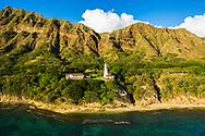 Aerial View of Diamond Head Lighthouse, Honolulu, Oahu, Hawaii, USA