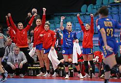 KOLDING, DENMARK - DECEMBER 5: Alexandra Subtirca Iovanescu (middle) reacts on the Romanian bench during the EHF Euro 2020 Group D match between Poland and Romania in Sydbank Arena, Kolding, Denmark on December 5, 2020. Photo Credit: Allan Jensen/EVENTMEDIA.