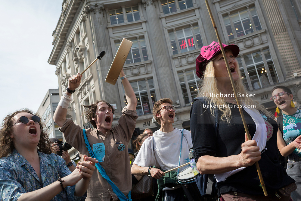 On day 4 of protests by climate change environmental activists with pressure group Extinction Rebellion at Oxford Circus, on18th April 2019, in London, England.
