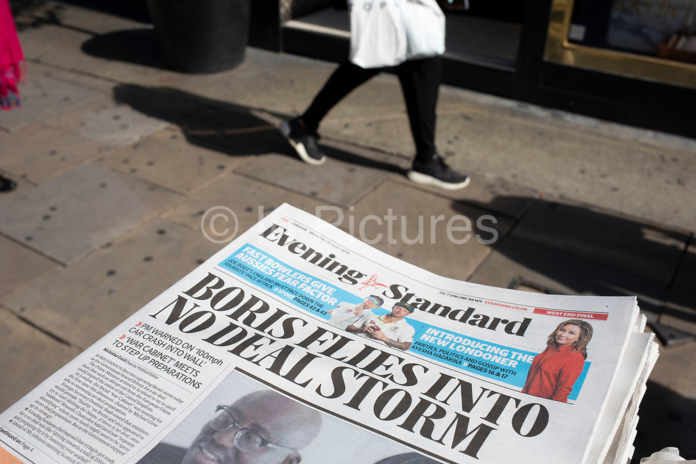 Boris Johnson No Deal Brexit headline on the Evening Standard newspaper in London, United Kingdom.