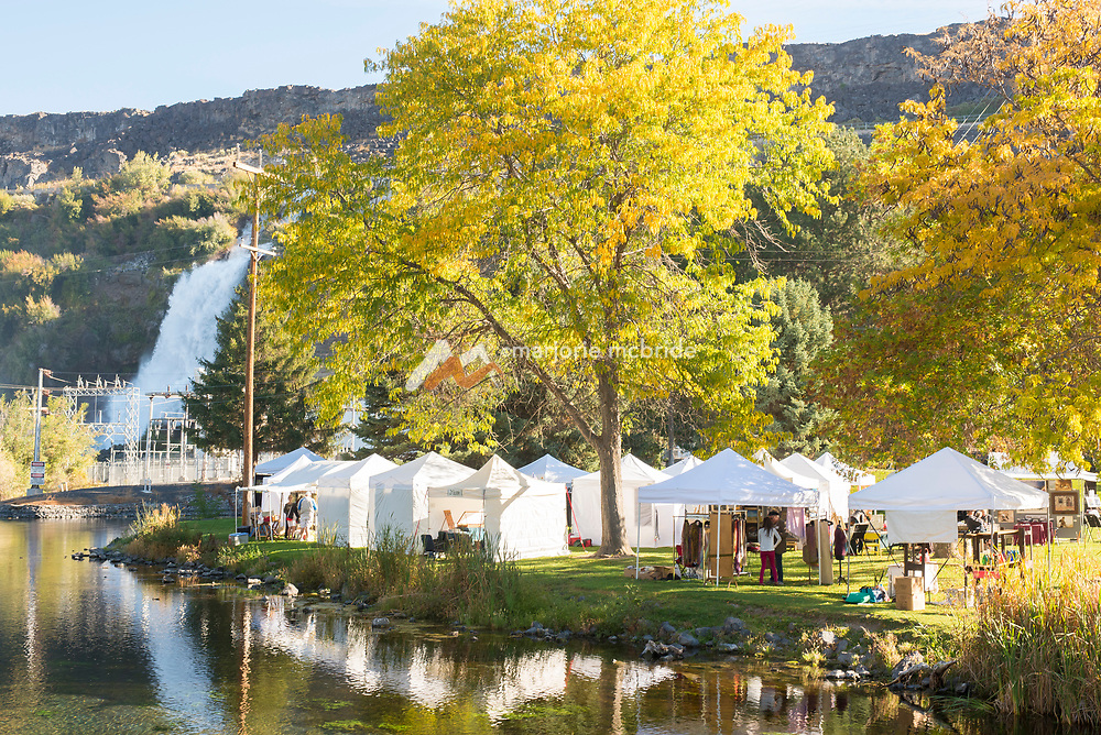 Tents up on Ritter Island, Thousand Springs Art Festival, Hagerman, Idaho.
