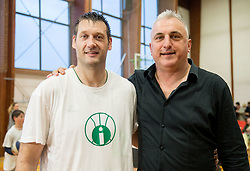 Goran Jagodnik of Ilirija and Sasa Doncic at Jagodnik's end of a career after basketball match between KD Ilirija and KK Mesarija Prunk Sezana in Last Round of 2. SKL  2016/17, on April 15, 2017 in GIB center, Ljubljana, Slovenia. Photo by Vid Ponikvar / Sportida