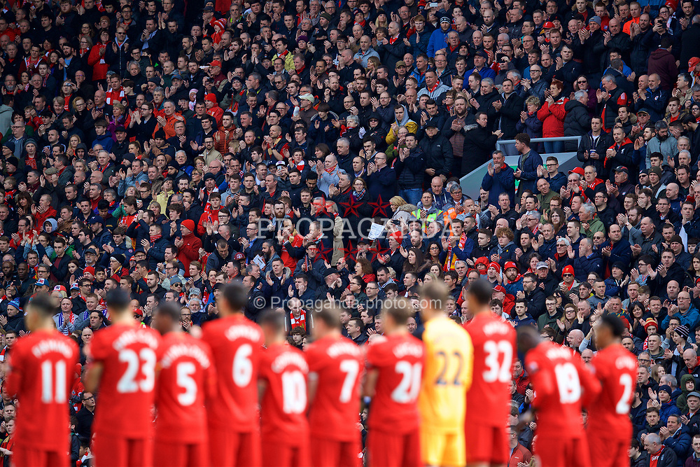 LIVERPOOL, ENGLAND - Saturday, April 1, 2017: Liverpool supporters and players stand for a minute's applause to remember former player and coach Ronnie Moran before the FA Premier League match, the 228th Merseyside Derby, against Everton at Anfield. (Pic by David Rawcliffe/Propaganda)